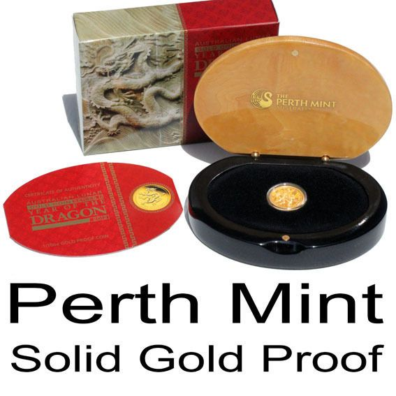 Gold Proof Perth Mint Lunar Series II 2012 Year of the Dragon 1/10 oz Coin .999%