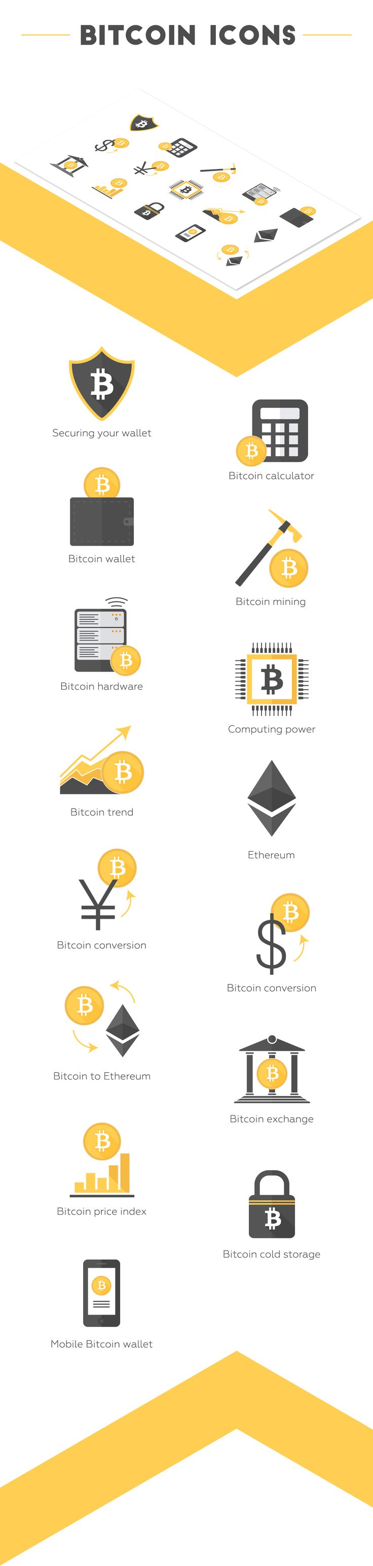 Cryptocurrency Icon set with 15 vector-based icons ready for use in any presentation. This set includes the following flat icons; encrypted Bitcoin, calculator, Bitcoin mining, hardware, wallet, Bitcoin trend, Ethereum, cryptocurrency exchange, mobile payment, Bitcoin conversion and more.