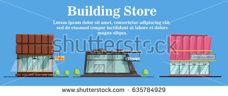 Store buildings set cartoon isolated vector