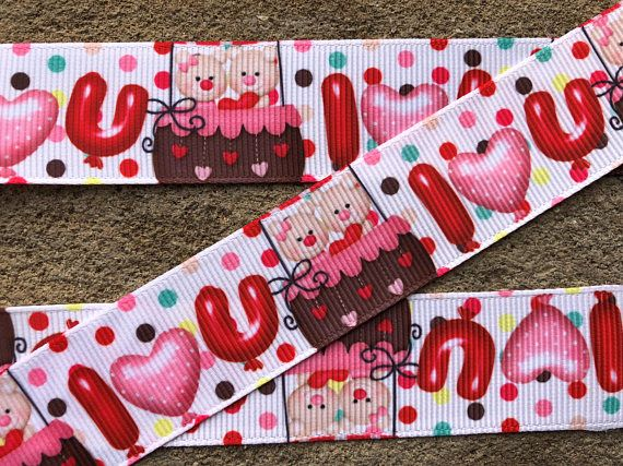 "3 yards Happy Valentine Day ribbon I LOVE YOU grosgrain ribbon 1"" Valentine Teddy Bear ribbon  Color dots Printed Red Hearts Bear Ribbon"