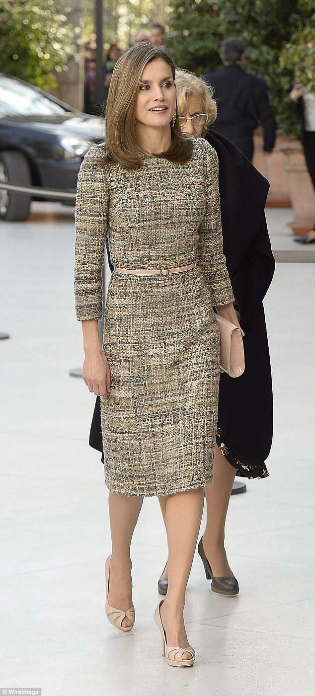 Queen Letizia of Spain, 44, today showed off her thrifty side by stepping out in a tweed dress she wore just one month earlier to present the National Sports Awards in Madrid.