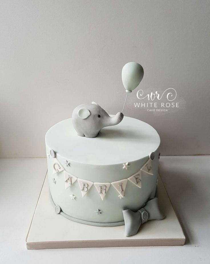 Elephant Christening Cake by White Rose Cake Design Bespoke Cake Maker in West Yorkshire