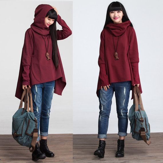 Asymmetrical casual loose cotton t-shirt knitted top with detachable cap - Women Clothing (TTS-001)