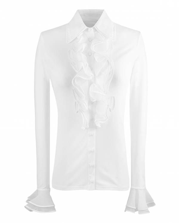 Patsy is ruffle front women's white shirt Anne Fontaine