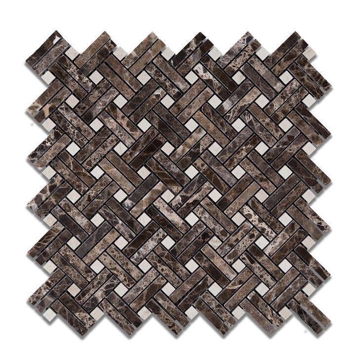 buy emperador dark marble polished stanza basketweave mosaic tile w crema marfil dots sample product