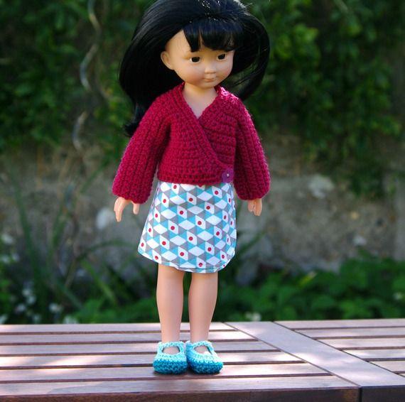 vêtements jupe, gilet, chaussures pour poupée type les Chéries de Corolle 32/33 cm