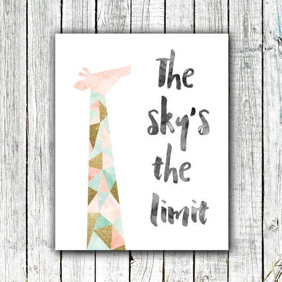 Kwekerij Art Printable afdrukbare Giraffe roze Mint en goud