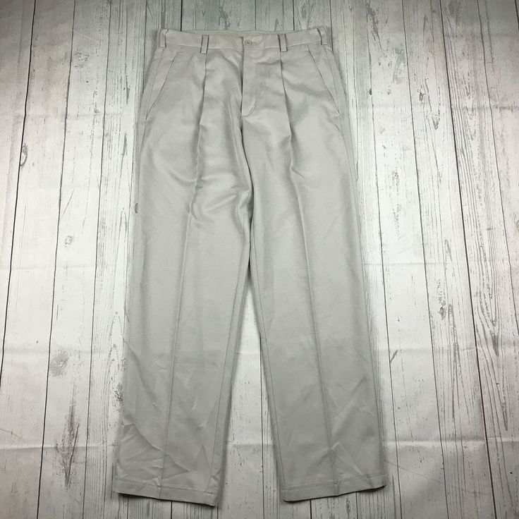 Nike Golf Stone Dri-Fit Tour mens 32 M gray beige athletic pleated golf pants #NikeGolf #Pants