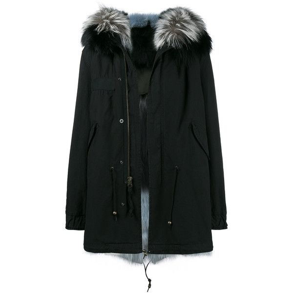 Mr & Mrs Italy fur trim hooded parka ($7,340) ❤ liked on Polyvore featuring outerwear, coats, black, fur hood parka, hooded parka coat, hooded parka, parka coats and fur hood coat