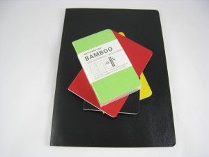I use the small pocket notebook version of these. The paper is made of bamboo, and has a nice, tactile feel. The covers are flexible and can be wiped off easily, and hold up well to actually being carried in your pocket. The ones I like come in a four pack of yellow, bright green, black and a very close to primary red. A friend gave me a red one for Christmas this year and I'm using it for haiku. I still like Moleskine for a full-sized journal . . . these little ones are far better to the soft covered Moleskines by a wide margin. Inexpensive and a great feel, and its fun to know that because they are made from sustainable bamboo, too - its nice to be green!: Friends Notebooks, Full Siz Journals, Notebooks Version, Style, Bamboo Notebooks, Small Pockets, Real Paper, Pockets Notebooks, Sustainability Bamboo