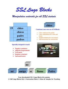 SSL Lingo Blocks have been developed by experienced SSL teachers who understand what it is to teach a second language and the importance of hands-on materials in the learning process.  These blocks are specially designed to teach such concepts as negatives, adjectival agreements, verb parts and sentence structure.