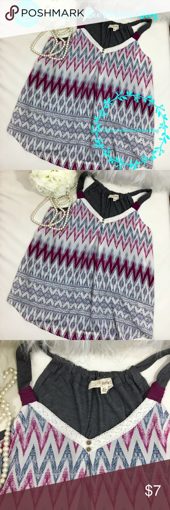 """🎀 WOMENS TANK TOP SLEEVELESS SHIRT BLOUSE Really cute chevron print. Excellent condition. Size XL bust: 38"""" length: 14"""".    🎀""""Add to bundle"""" to add more items from my closet or """"Buy"""" to checkout now.  🎀Get to know me! 💗Showing you how to style your looks at www.Queenbeefashionblog.com SUBSCRIBE.   🎀 Let's be friends! Follow me on Instagram @queenbeefashionblog Tops Blouses"""