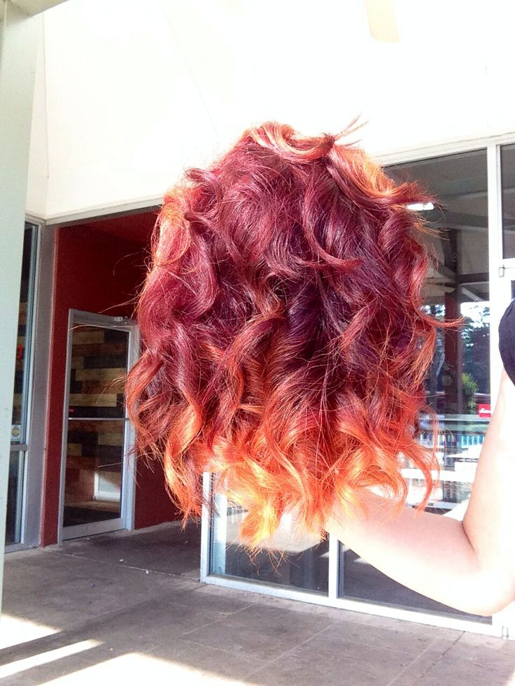 Fire inspired ombré and yellow freeze frame highlights by Ave.