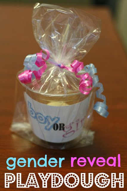 gender reveal play dough - starts out white. As you play with it, it turns pink or blue to reveal baby's gender. (put a drop of food coloring inside ball of white play dough)