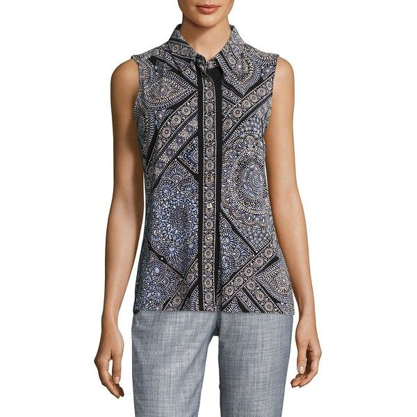 Tommy Hilfiger Women's Aztec Print Blouse ($34) ❤ liked on Polyvore featuring tops, blouses, blue, tommy hilfiger, aztec top, button front blouse, button front top and blue print top