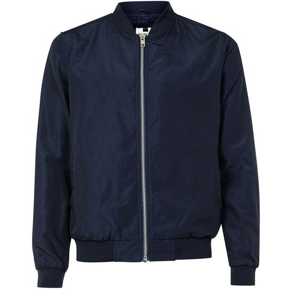 TOPMAN Navy Lightweight Bomber Jacket ($52) ❤ liked on Polyvore featuring men's fashion, men's clothing, men's outerwear, men's jackets, jackets, outerwear, blue, mens navy blue bomber jacket, mens light weight jackets and old navy mens jackets