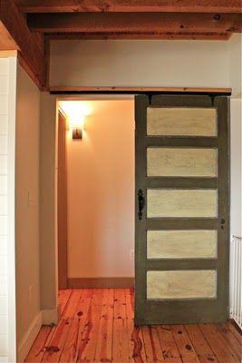 vintage sliding door to the master bedroom