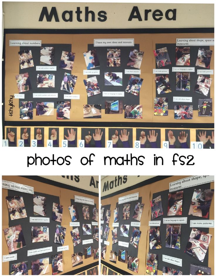 A recent display in the maths area. Photos of children learning about maths through their play.