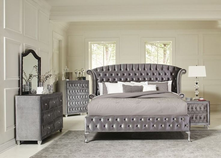 Magical 4 Pc Grey Velvet Tufted King Platform Bed Bedroom Furniture Set