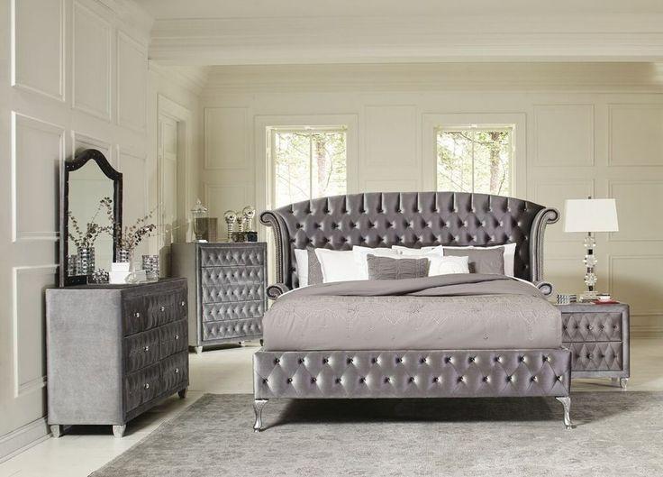 Details About Magical 4 Pc Grey Velvet Tufted King Platform Bed Bedroom Furniture Set