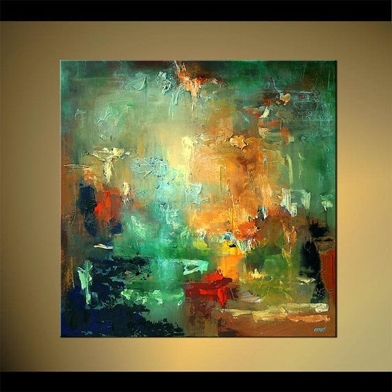 Modern red turquoise textured abstract painting 40 x 40 for Textured acrylic abstract paintings