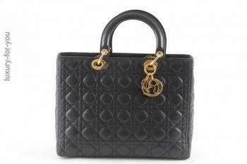 Christian Dior *Lady Dior* aus Lammleder in Schwarz