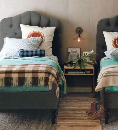 Twin beds + tufted headboards: