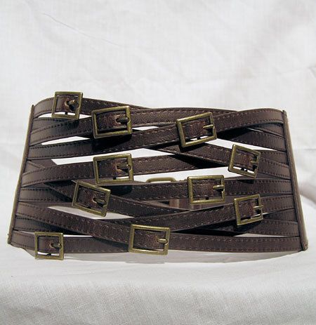 Steampunk Zombie Apocalypse Goth Cyberpunk Belt Corset Buckles Goth Faux Leather LARP Punk Small Medium. $25.00, via Etsy.