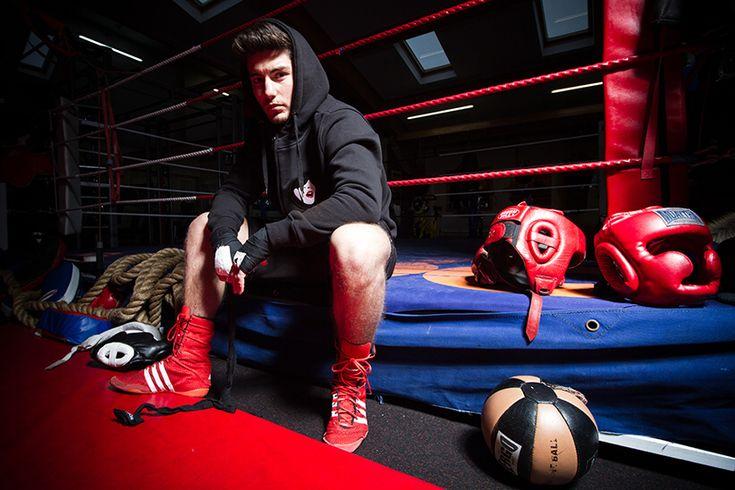 Team GB boxer Josh Kelly wearing the Wasted Heroes droplet face patch hoodie.   www.wastedheroes-shop.com