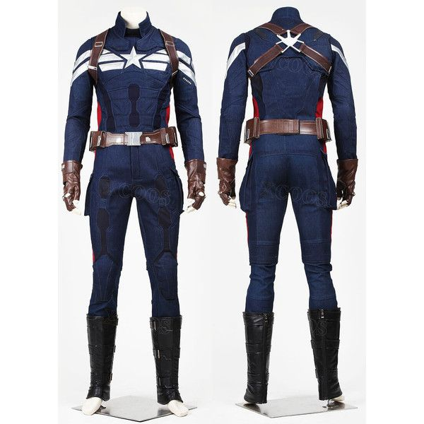 Captain America The Winter Soldier Steve Rogers CosplayCostume Uniform ❤ liked on Polyvore featuring costumes, winter soldier cosplay costume, super hero costumes, winter soldier costume, superhero halloween costumes and role play costumes