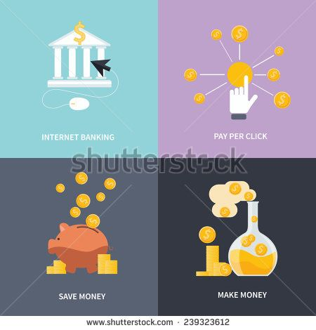 Business concept for online internet banking, finance investment, make money, save money and pay per click in flat design