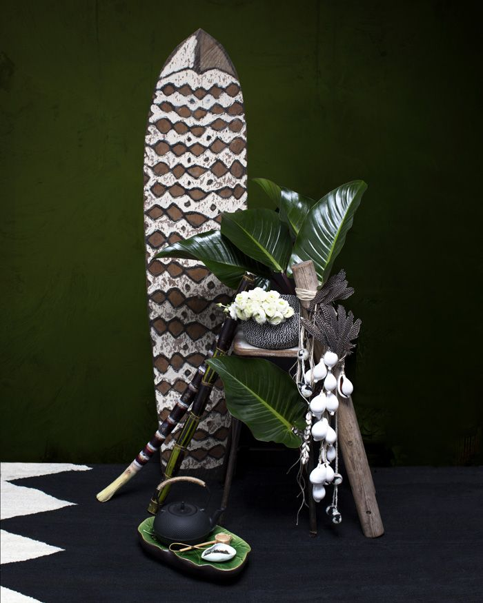 Papua New Guinea shield at Dust Darlinghurst, Cowrie shell strings Beached Treasures, black and white basket from a selection at Flamingo Merchant. Tea accoutrement throughout at Zensation Tea House.
