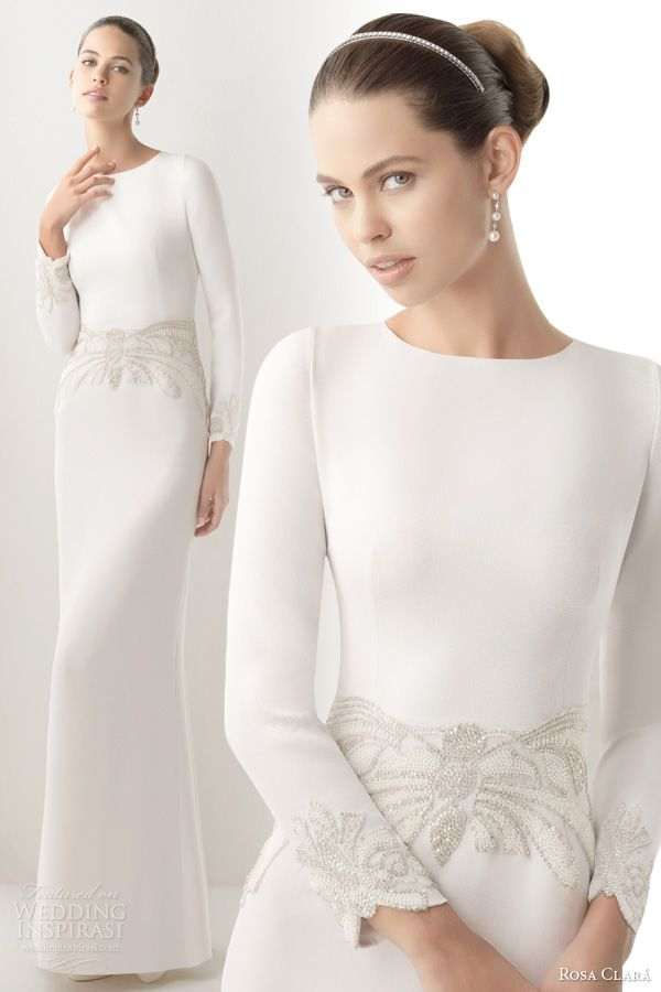 rosa clara 2014 cora long sleeve wedding dress beads buttons.  I love the classic simplicity of this tailored gown - would be so gorgeous for a winter wedding!