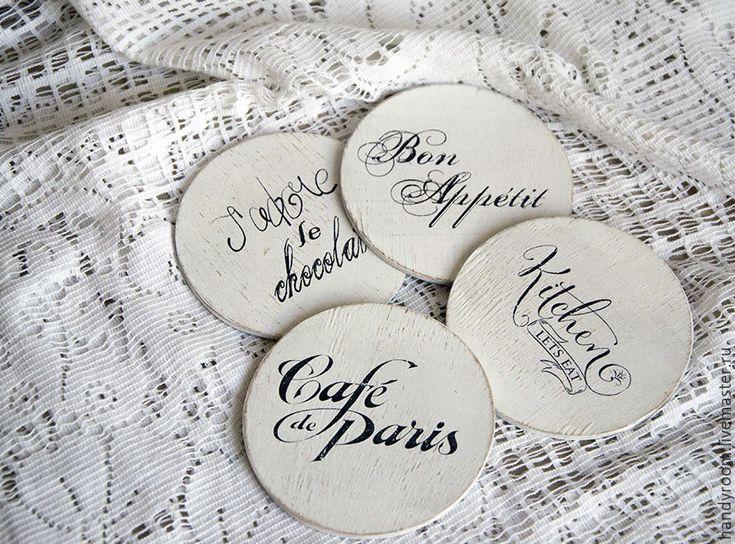 Купить Комплект подставок «Cafe de Paris» - белый, подставка под горячее, Декупаж, ретро