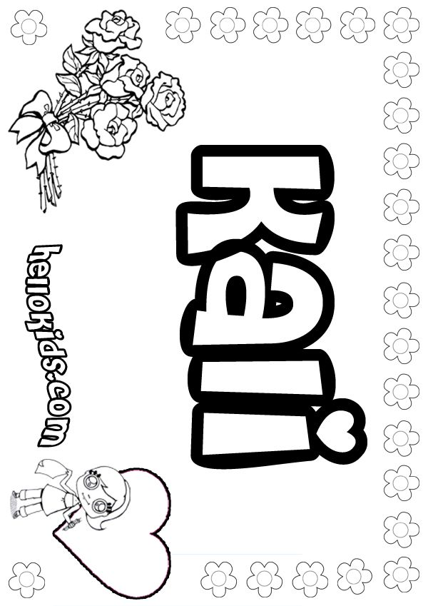 Girls Name Coloring Pages Kali Girly Name To Color Name Coloring Pages Coloring Pages Free Coloring Pages