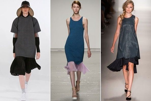 Юбки под платьями - тентенденции весна 2015, на фото модели Marissa Webb, Rebecca Taylor и Koonhor