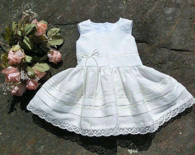 Bianco battesimo abito, vestito battesimo ragazze, bambino flower girl dress. Abito baby rustico, lino neonato flower girl dress. Abito da bambino bianco