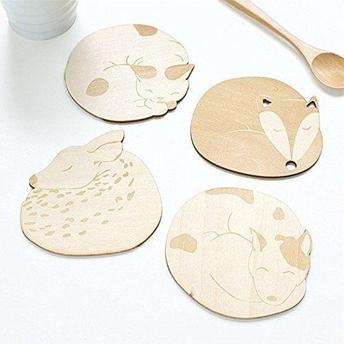 "BRILA® Creative Wooden Coaster Cup Mat (Set of 4) (3.74"") - Four Kinds Of Cute Cartoon Animal Design Coasters, Creative gift (Kitty,Doggy,Fox,Deer)"