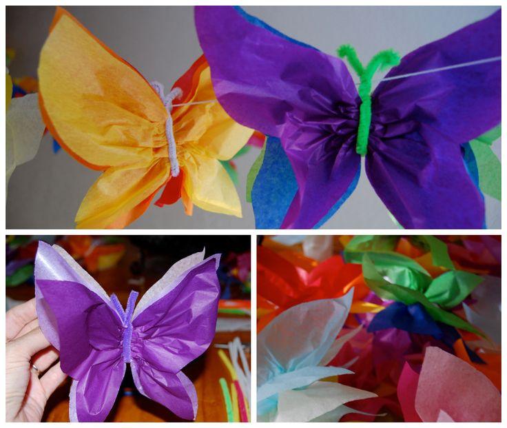 """Hoy os traemos un tutorial de cómo hacer una guirnalda de """"Mariposas de Papel de Seda"""" con un resultado verdaderamente encantador! la que aportará mucho colorido y vistosidad donde quiera que la coloques. Una guirnalda versátil, la que podrás utilizar para decorar el fondo de una mesa dulce o para decorar otros espacios del local…"""