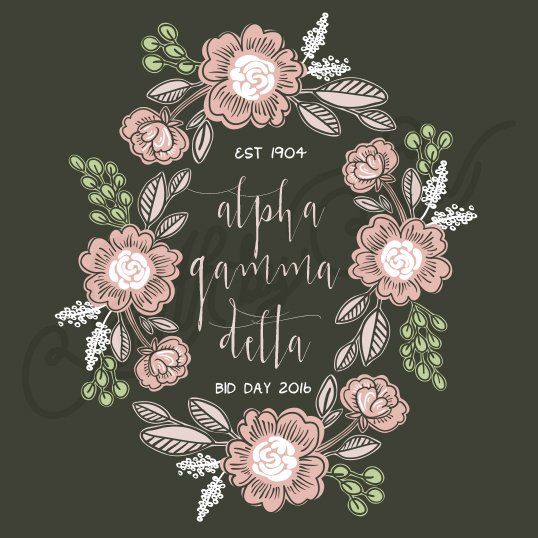 Letters                   Sorority Recruitment Alpha Gamma Delta Floral Wreath Bid Day South By Sea