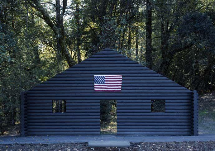 Cady Noland - Log Cabin Blank with Screw Eyes and Café Door (Memorial to John Caldwell)