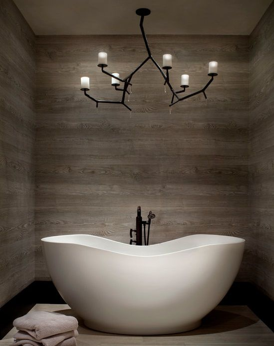 residential bathroom interior design pendant chandelier bath mixer timber white black candle