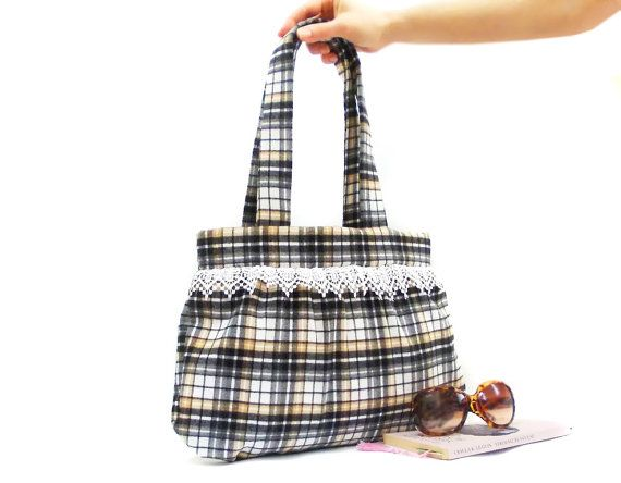 Plaid Tote Bag, Shoulder bag, Cotton Purse, Black Brown, Vintage Style bag, Lace bag, Soft cotton, Hobo Bohemian bag, Bag for mom