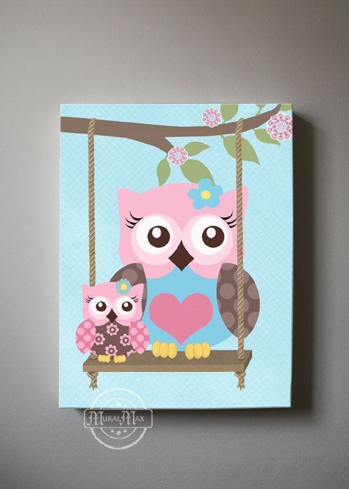 Owl Decor Girls wall art - OWL canvas art, Baby Nursery Owl with Swing 10x12 whimsical nursery art, Match with Brooklyn Nursery Bedding