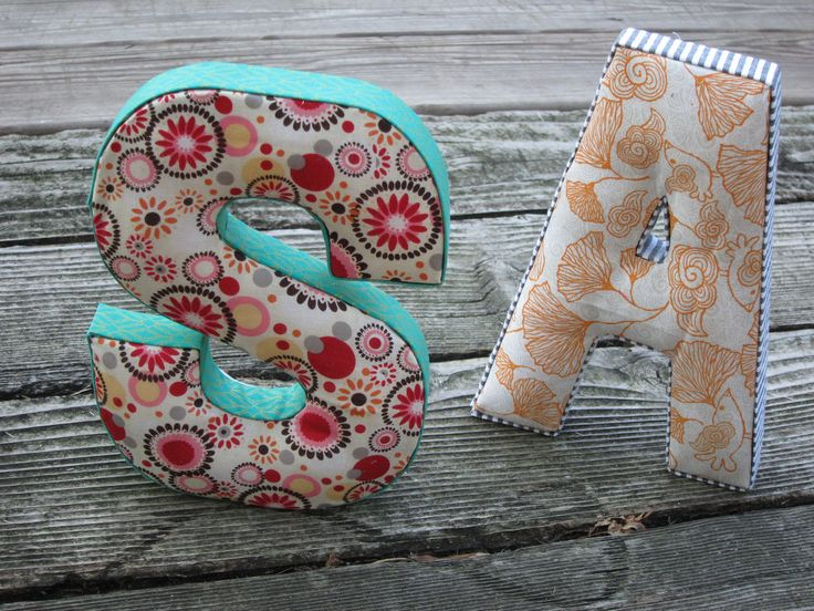 cardboard/paper letters, stuffing filled and fabric covered
