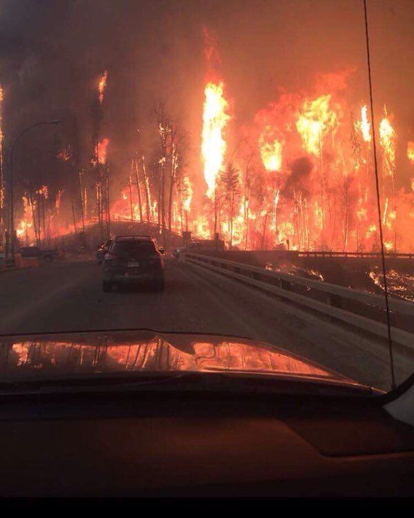 Fire around Fort McMurray = mandatory evacuation order means 53,000 people, who live in the city are being told to flee.