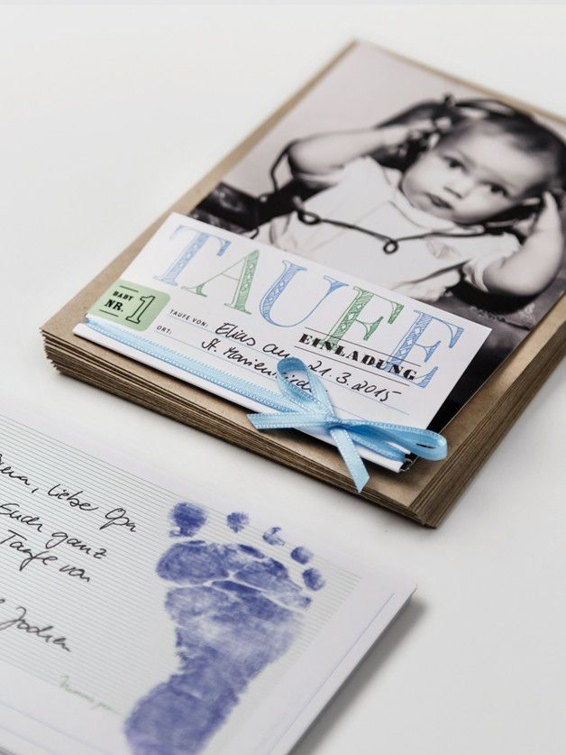 Einladungskarten zur Taufe im Set mit Stempelkissen für Baby's Fußabdruck / invitation cards for baptism with stamp pad for baby's foot imprint made by NimmsPersoenlich via DaWanda.com