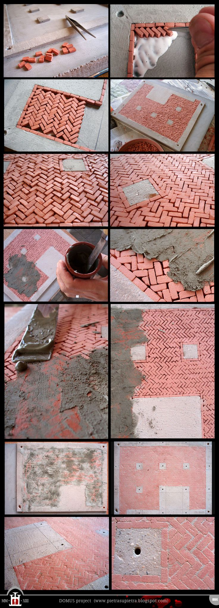 Domus project 4: Basement floor with clay bricks  http://pietrasupietra.blogspot.com/2011/09/construction-04-basement-floor.html  The Domus project is the construction in scale 1:50 of an imaginary medieval palace. It's made of clay, stones, slate, wood and other construction materials in the style of rich genoese buildings from the middle of XIV century.