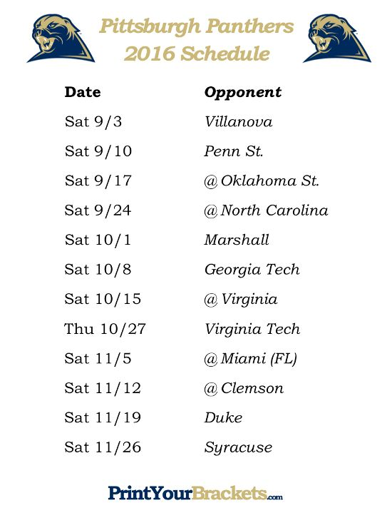 Printable Pittsburgh Panthers Football Schedule 2016