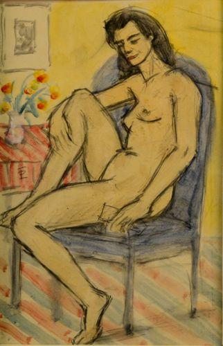 Teodor Pallady - Nud pe un Fotoliu Albastru